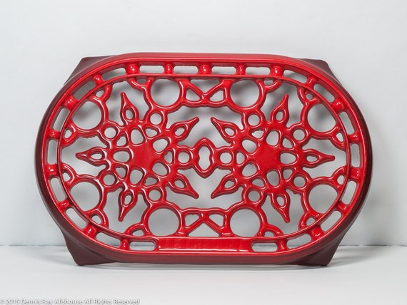 Le Creuset Red Enamel Trivet Cast Iron Large Oval Made In
