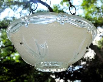 Hanging glass bird bath - glass bird feeders