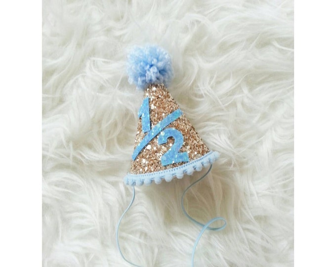 Half Birthday | Glitter Blue and Gold Mini Party Hat | Half Birthday Party Hat | Boy Birthday Hat | Cake Smash | Birthday Hat
