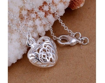 925 Silver Plated Heart Pendant Necklace