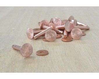 "Number 9 Copper Rivet and Burr Set 1"" Leathercraft Hardware 15 Pack - 28402"