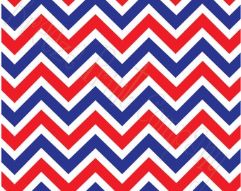 Red, white and blue chevron craft  vinyl sheet - HTV or Adhesive Vinyl -  large zig zag pattern   HTV1051