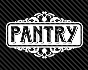 Pantry door vinyl sticker decal - chic pantry food kitchen - available in multiple sizes and colors.