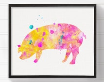 Watercolor Pig, Pig Art Print, Pig Painting, Nursery Wall Decor, Girls Room Decor, Farm Animals, Farmhouse Decor, Kids Room Decor