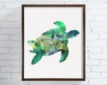 Sea Turtle Wall Art, Sea Turtle Painting, Sea Turtle Wall Decor, Sea Turtle