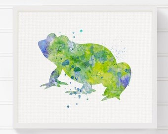 Watercolor Frog, Frog Art Print, Frog Painting, Frog Poster, Frog Wall Art, Frog Wall Decor, Frog Art, Nursery Art Print, Frog Illustration