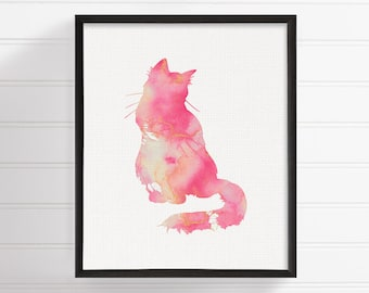 Cat Art Print, Cat Poster, Cat Wall Decor, Cat Wall Art, Cat Silhouette Print, Watercolor Cat, Watercolor Print, Archival Print, Framed Art