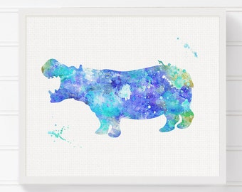 Hippo Art Print, Hippo Poster, Hippo Painting, Kids Room Decor, Nursery Wall Decor, Watercolor Hippo, Baby Boy Nursery, Boys Room Decor