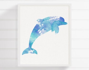 Dolphin Painting, Dolphin Art Print, Nautical Home Decor, Beach Art Print, Nursery Art Print, Watercolor Dolphin, Sea Life Art, Coastal Art