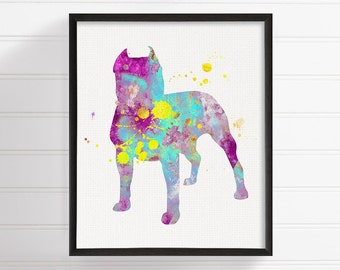Watercolor Pit Bull, Pit Bull Art, Pit Bull Print, Pit Bull Wall Art, Pit Bull Painting, Dog Wall Art, Dog Lover Gift, Watercolor Animal