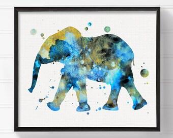 Watercolor Elephant Art, Elephant Painting, Elephant Art Print, Baby Boy Nursery, Boys Room Decor, Nursery Wall Decor, Animal Nursery