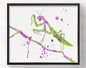 Preying Mantis Art Print, Watercolor Preying Mantis, Preying Mantis Poster, Preying Mantis Painting, Insect Art, Insect Print, Insect Decor