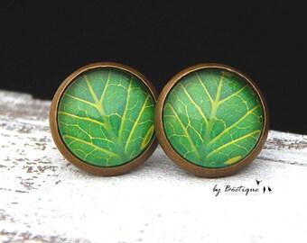 Stud Earring - Leaf - 0,51 Inch Bronze