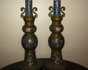 Antique Japanese Champleve Candlesticks