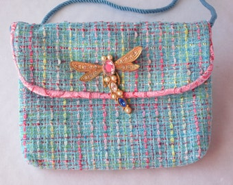 Shoulder Bag - Aqua & Pink Weave - Jeweled Dragonfly Pin - Birthday Gift for Her