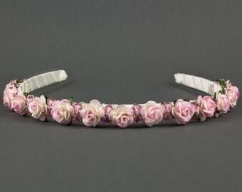 Crystal Rose Headband | Boho Wedding Headband | Tea Rose Wedding Headband |  Bohemian Wedding Hairband | Flower Girl Headband | Bridesmaid
