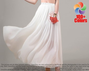 Chiffon Maxi Skirt with Elastic Waist - White Chiffon Maxi Skirt - Ivory Georgette Maxi Skirt - Long Chiffon Skirt - Floor Length Skirt SK1