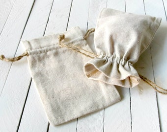 "Set of 96 - 4"" x 6"" Natural Linen Favor Bags - Perfect for wedding favors, baby showers, bridal showers, gift packaging"