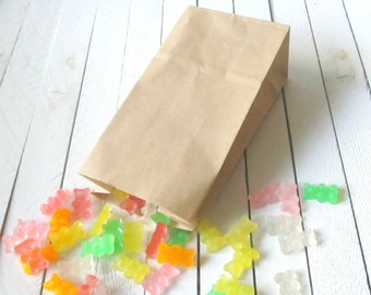 "25 - Mini SOS Brown Paper Treat Bags 3 1/2"" x 2 3/8"" x 6 7/8"" - Great for Candy Bars, Gift Bags and Prize Bags"