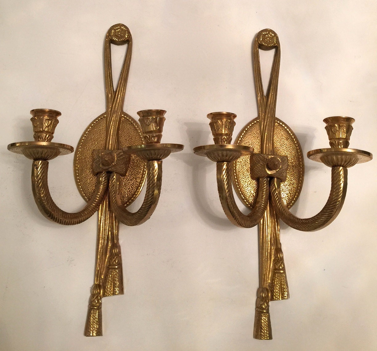 Vintage Heavy Brass Wall Candle Holders Sconces Pair Of Brass