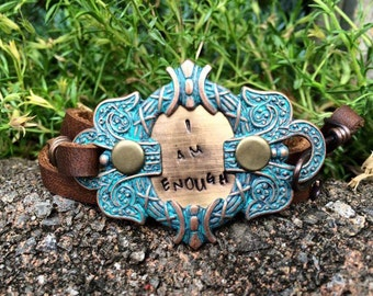 I am enough triple wrap leather bracelet