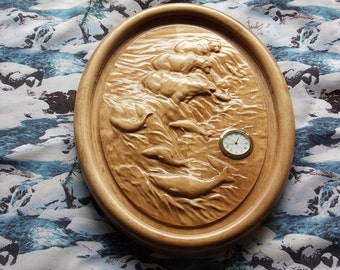 Wood Carving for Sale ~ Bear Decor Wall Clock ~ Polar Bear Art ~  Bear Wood Carving ~ Wall Decor ~ Housewares Bear Clock ~ Bear Wall Clock
