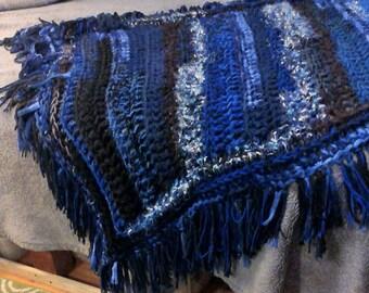 Blanket, Starry night crochet blanket, navy blue, black, white throw blanket, sparkly star fringe blanket