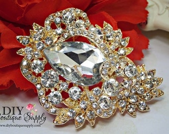 LARGE Gold Crystal Rhinestone Brooch - Wedding Brooch Pin Accessories - Crystal Brooch Bouquet - Bridal Brooch Sash Pin 75mm 020198