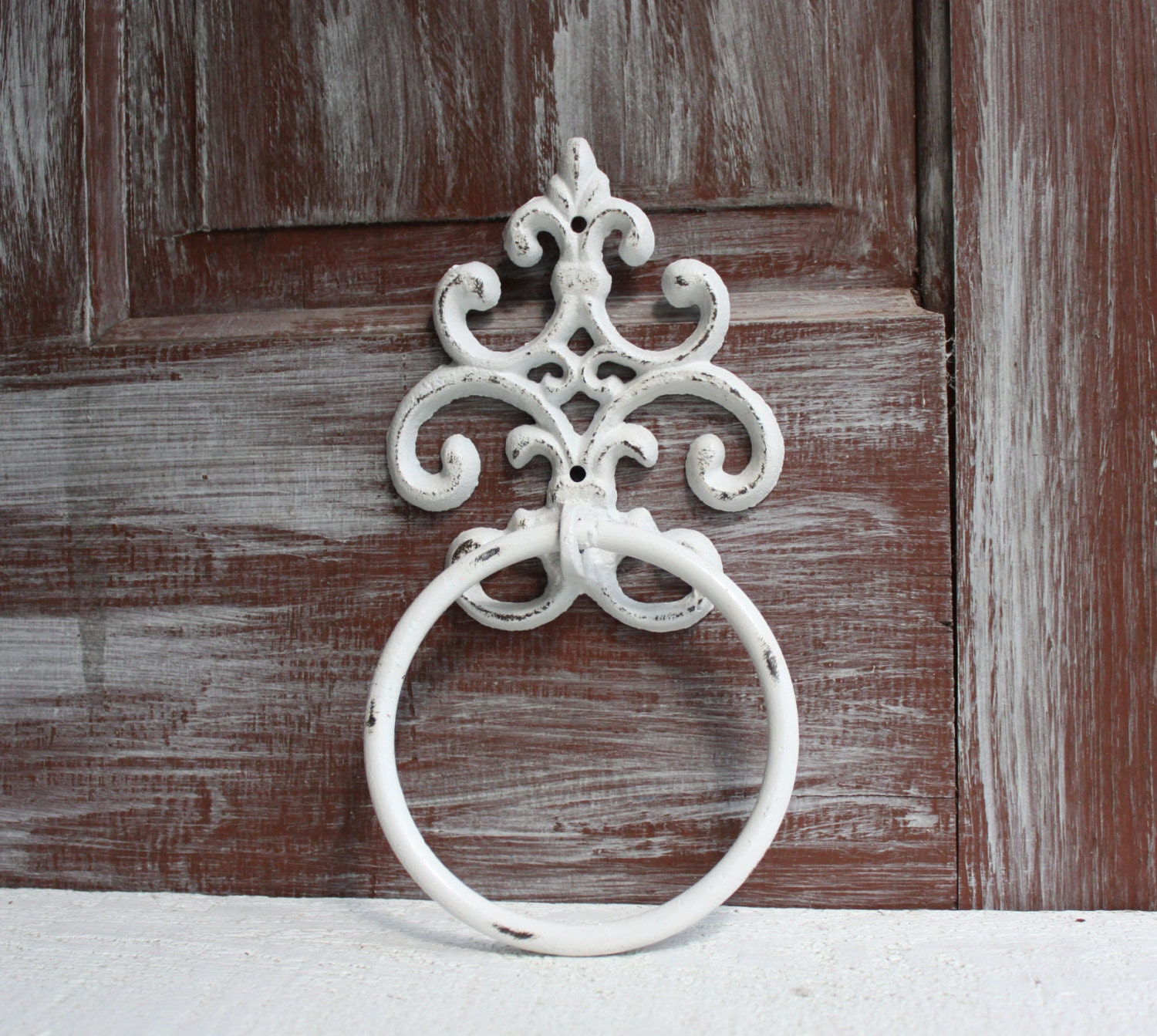 Towel Ring White Distressed Towel Holder Bathroom Decor