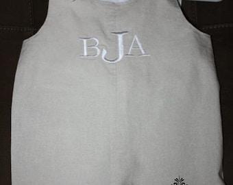 Lightweight linen blend monogram boys jon jon, summer pictures, wedding outfit, beach pictures