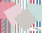 Beach Striped Digital Scrapbook Paper, Digital Paper, Scrapbook Paper, Beach Paper, Striped Paper, Digital Striped Paper