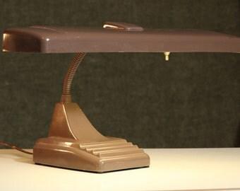 ART DECO Industrial LAMP Vintage Hooded Shade Retro Banker's Shop Lighting Works!