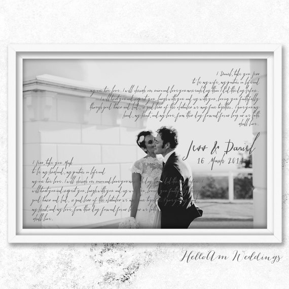 Wedding Vows Framed 1st Anniversary Gift Vows Wedding By