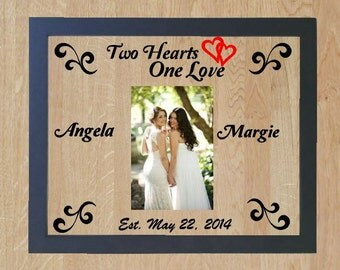 Personalized Gay WEDDING Picture Frame, Female Couple Gift, Lesbian Wedding Gift, Gay Marriage,  Personalized Lesbian Picture Frame