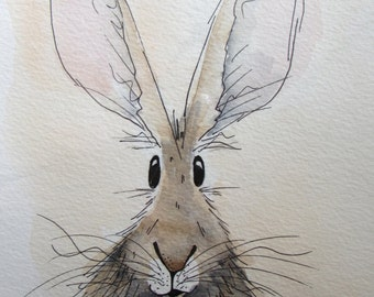 Freddie the Hare - original watercolour painting