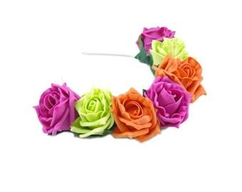 Pink Rose Flower Crown, Pink Rose Headband, Tropical Flower Crown, Flower Crown, Rose Crown, Flower headband, Festival Crown,Boho Headband