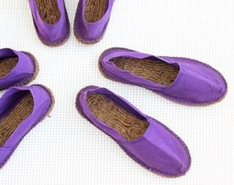 vegan shoes/ vintage canvas Espadrilles/ 80's purple women flats 5 6 7