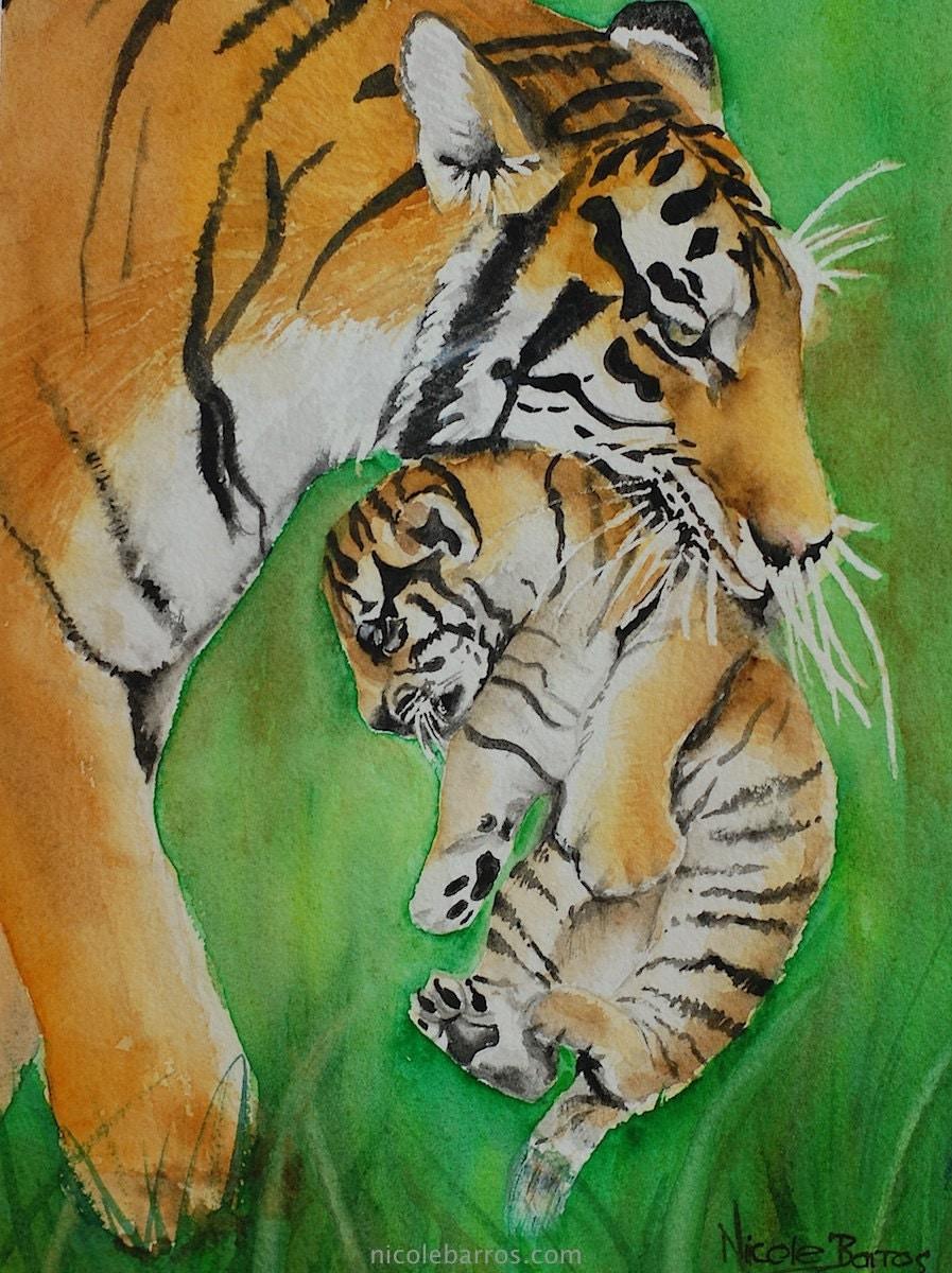 tiger tiger cub print painting watercolour tiger painting