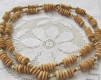 Vintage  tea dyed bone long necklace tribal boho