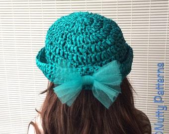 Crochet Pattern * Laguna Hat * PDF Instant download pattern # 496 * Sun hat * raffia summer hat * girls * baby toddler child teen adult