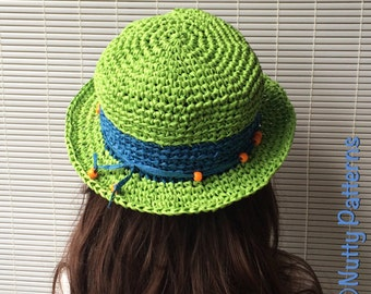 Crochet Pattern * ELLA Hat * PDF Instant download # 498 * Sun hat * raffia * beach hat * baby toddler child teen adult * girls * boys