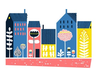 Dwellings, Scandinavian print, Giclee print, Illustration print, Art print, MidCentury Modern print, Scandinavin houses, House illustration