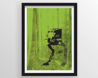 8.5 x 11 AT-ST Walker in Endor from Star Wars Minimal Poster