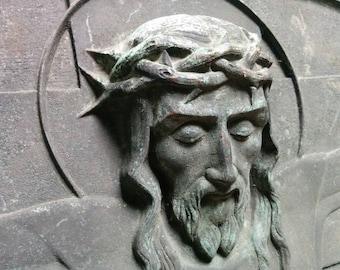 Art Deco Bronze Plaque Of Jesus Christ by Hautfenne Brux