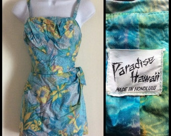 Vintage 1950's Hawaiian Pinup Swimsuit Paradise Hawaii Made in Honolulu Bombshell looks size Small