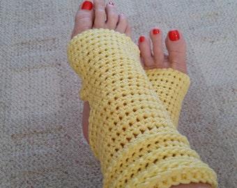 Yoga Socks - Toeless BalletSocks, Pilates, Dance Warmers, Crocheted Yellow Socks, For Her