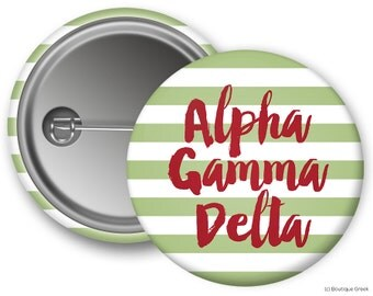AGD Alpha Gamma Delta Stripe Sorority Greek Button
