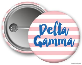 DG Delta Gamma Stripe Sorority Greek Button