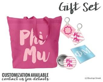 PhiMu Script Letters Gift Set