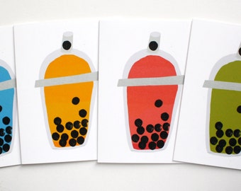 Colorful Bubble Tea Smoothies - Blank Greeting Notecards Set of 4